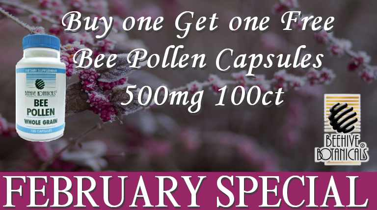 February Special Buy one Get one Free Bee Pollen Capsules 500mg 100ct